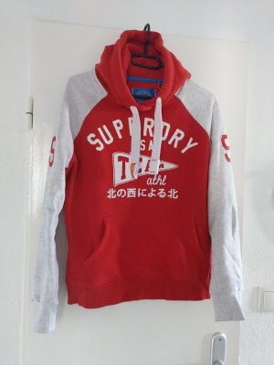 SUPER DRY Camicia con cappuccio bianco-rosso
