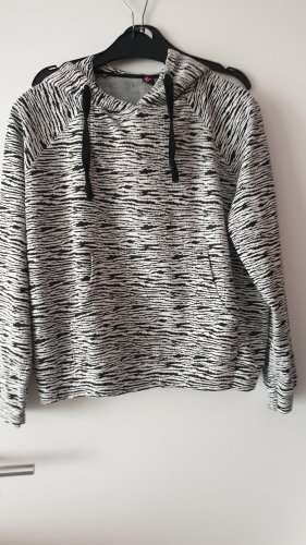 Ann Christine Capuchon sweater wit-zwart