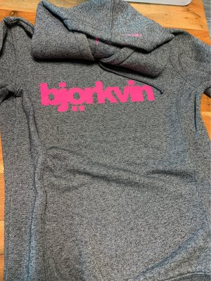 Björkvin Hooded Sweater grey-neon pink