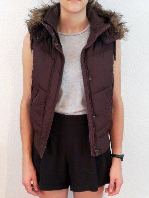 H&M L.O.G.G. Hooded Vest black brown polyester