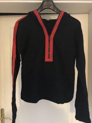 Tazuma Hamburg Camicia con cappuccio nero-rosso