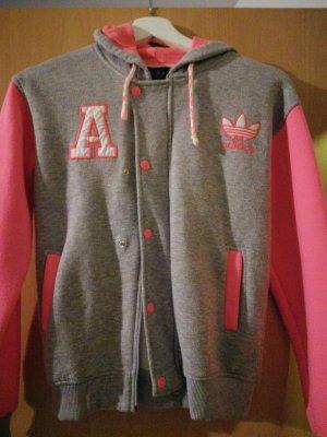 Adidas Kurtka z kapturem jasnoszary-różowy neonowy