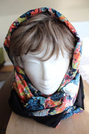 Hooded Scarf multicolored cotton