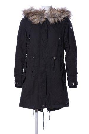 Cappotto con cappuccio nero stile casual