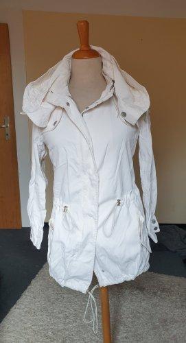 Guess Jeans Płaszcz z kapturem biały Tkanina z mieszanych włókien