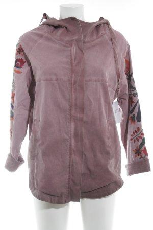 Cappotto con cappuccio rosa motivo floreale stile da moda di strada