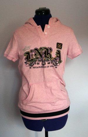 Sweter z krótkim rękawem jasny różowy-czarny