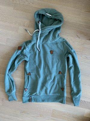 Naketano Sweter z kapturem szaro-zielony