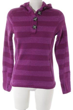 Kapuzenpullover violett Streifenmuster Casual-Look