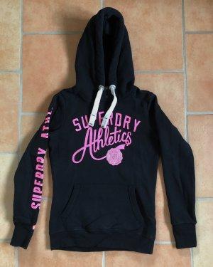 Superdry Sweter z kapturem czarny-różowy neonowy