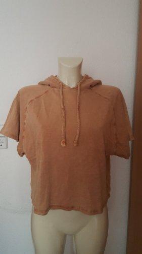 Zara Trafaluc Hooded Shirt apricot cotton