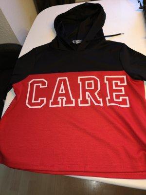 Kapuzensweater, rot, schwarz, weis