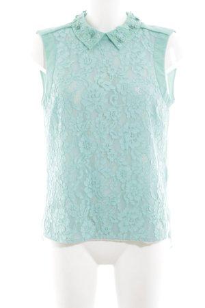 KAREN MILLEN Blusa senza maniche turchese motivo floreale elegante