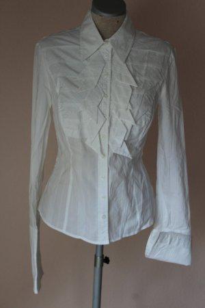 Karen Millen Bluse Langarmbluse Langarm tailliert weiß EU 40 D 38 S M Blusentop viktorianisch gothic Lolita