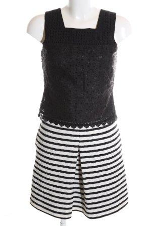 KAREN MILLEN Robe fourreau noir-blanc motif rayé style décontracté