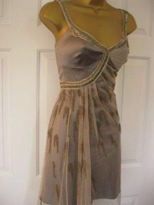 KAREN MILLEN Gr. 38-40 UK 14 Silver Neutral Silk Beaded Party  Dress