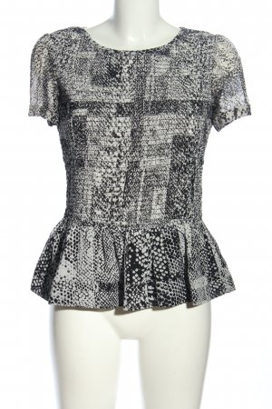 KAREN MILLEN Kurzarm-Bluse schwarz-weiß abstraktes Muster Casual-Look