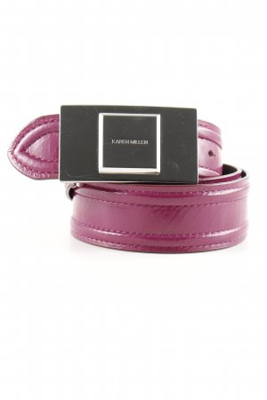 KAREN MILLEN Leather Belt purple-silver-colored simple style