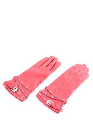 KAREN MILLEN Guantes de cuero rosa look casual