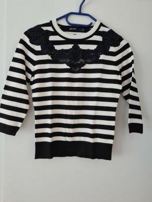 Karen Millen Pullover Gr. M in schwarz weiß gestreift mit Spitze