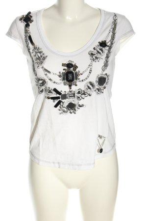 KAREN MILLEN T-shirt bianco-nero Stampa a tema elegante