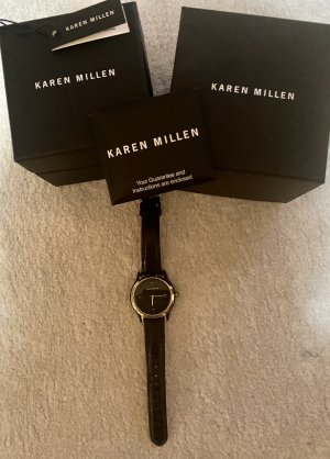 KAREN MILLEN Zegarek ze skórzanym paskiem czarny-złoto