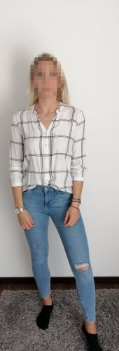 Pigalle Checked Blouse white-black