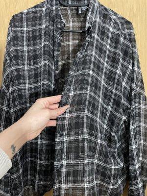 H&M Long Sleeve Blouse black-white