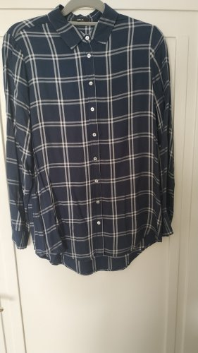 Opus Checked Blouse blue-petrol