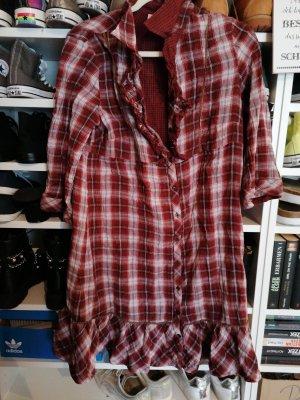 s. Oliver (QS designed) Checked Blouse white-dark red