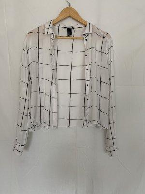 H&M Bluzka w kratę biały-czarny