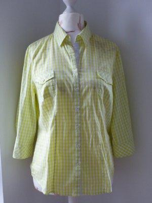 Bianca Long Sleeve Blouse white-lime yellow cotton