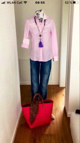 Camicia a scacchi bianco-rosa chiaro