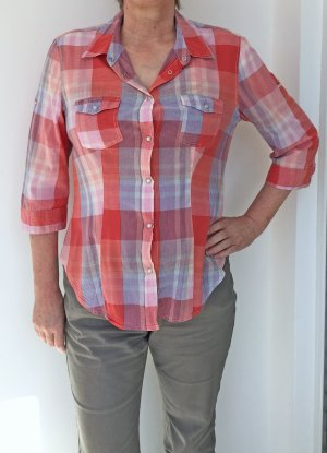 Madonna Checked Blouse bright red-azure cotton