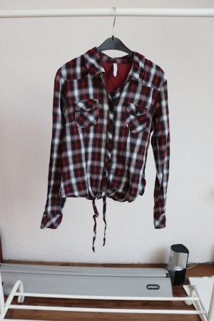 Karierte Bluse schwarz/weiß/rot Gr. S