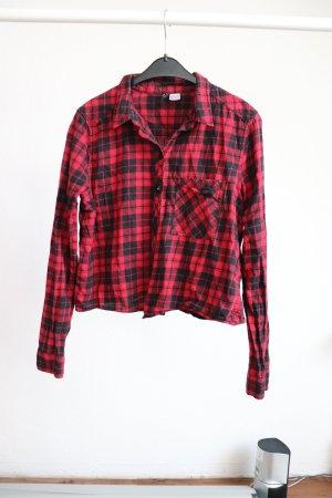 Karierte H&M Bluse Crop schwarz/rot Gr. S