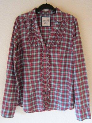Karierte Hemd-Bluse mit Rüschen