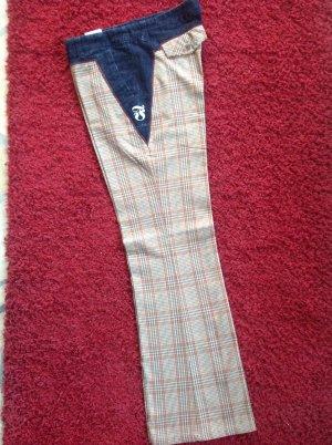 Pantalone a zampa d'elefante beige chiaro-blu scuro Tessuto misto