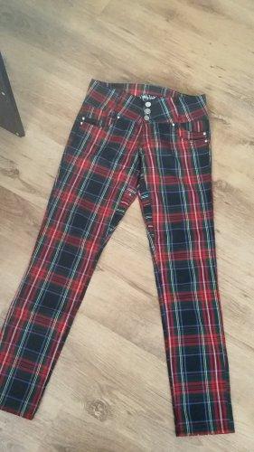 Pantalón de tubo negro-rojo oscuro