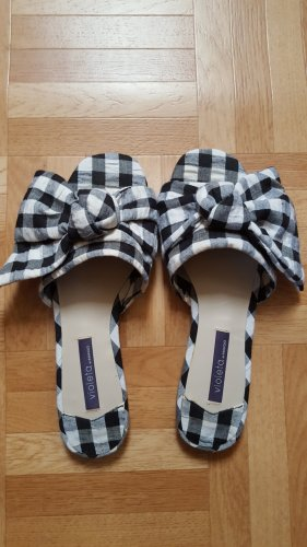 karierte Sommer slippers mit Schleife