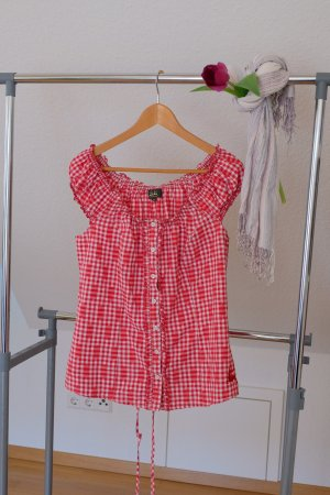 Wiesnkönig Traditional Blouse white-red cotton