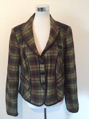 Biba Blazer de lana marrón oscuro-verde bosque