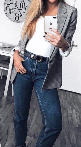 Bershka Lange blazer zwart-wit