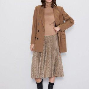 Zara Falda a cuadros marrón claro tejido mezclado