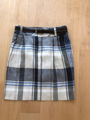 Zara Woman Spódnica midi kremowy-niebieski