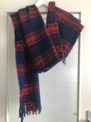 H&M Divided Écharpe en laine rouge-bleu