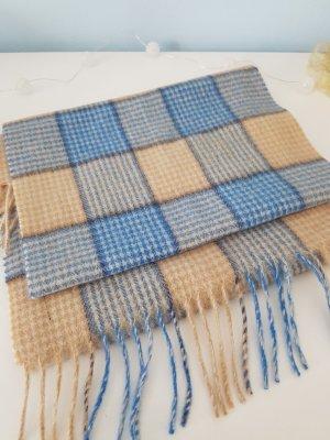 Berrydale Scotland Wełniany szalik piaskowy brąz-błękitny