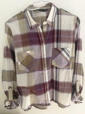 Zara Koszula w kratę khaki-w kolorze białej wełny Bawełna