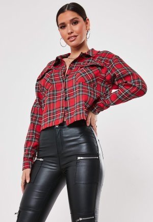 Missguided Flannel Shirt red