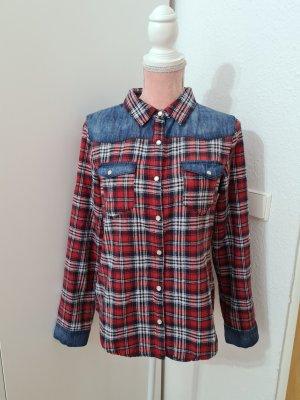 kariertes Hemd mit Jeanseinsatz